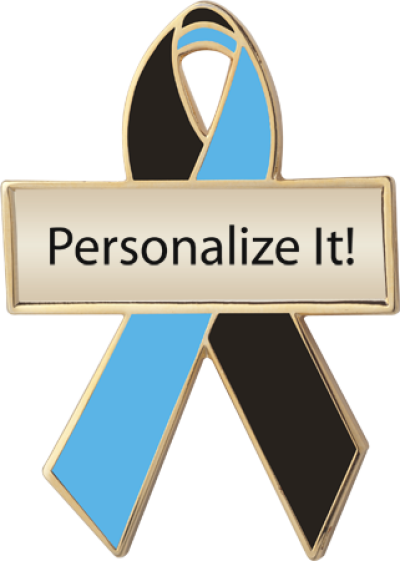 Personalized Black and Blue Awareness Ribbon Pin
