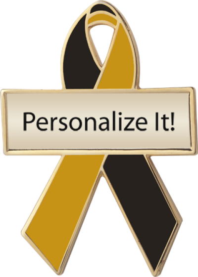 Personalized Black and Gold Awareness Ribbon Pin