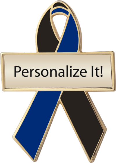 Personalized Black and Navy Awareness Ribbon Pin