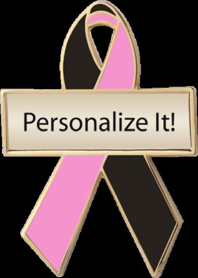 Personalized Black and Pink Awareness Ribbon Pin