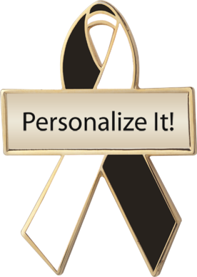 Personalized Black and White Awareness Ribbon Pin