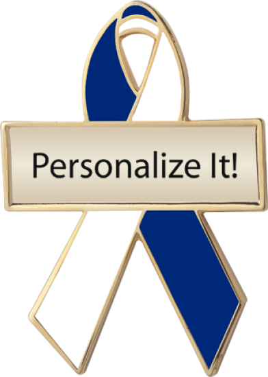 Personalized Blue and White Awareness Ribbon Pin
