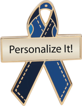 Personalized Blue Jeans Awareness Ribbon Pin
