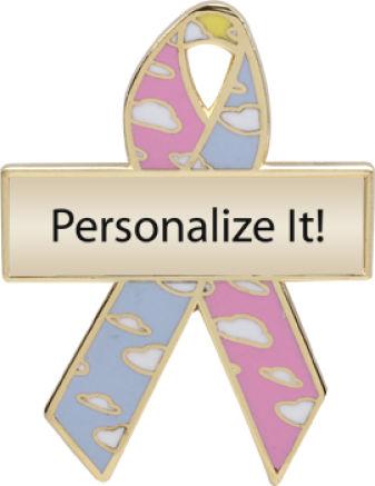 Personalized Cloud Awareness Ribbon Pin