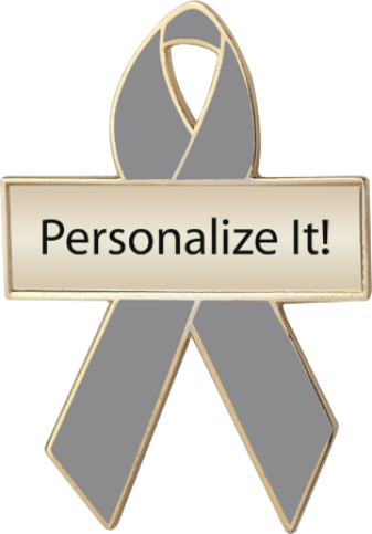 Personalized Gray Awareness Ribbon Pin