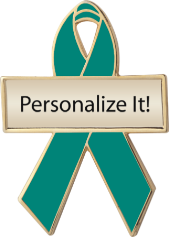 Personalized Green Awareness Ribbon Pin