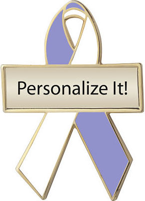 Personalized Lavender and White Awareness Ribbon Pin
