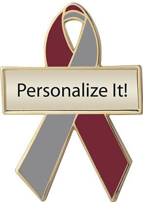 Personalized Maroon and Gray Awareness Ribbon Pin