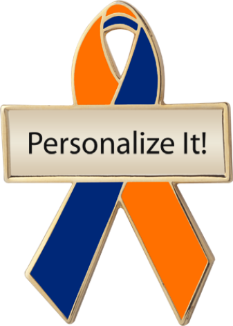 Personalized Orange and Blue Awareness Ribbon Pin