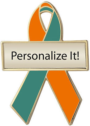 Personalized Orange and Green Awareness Ribbon Pin
