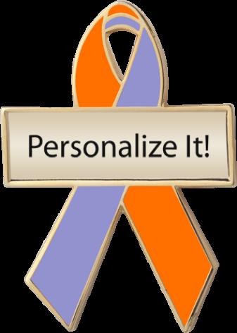 Personalized Orange and Lavender Awareness Ribbon Pin