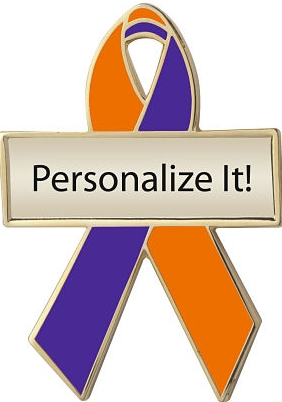 Personalized Orange and Purple Awareness Ribbon Pin
