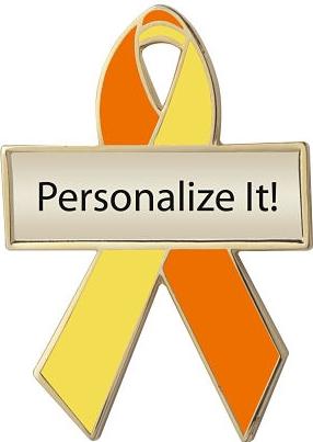 Personalized Orange and Yellow Awareness Ribbon Pin