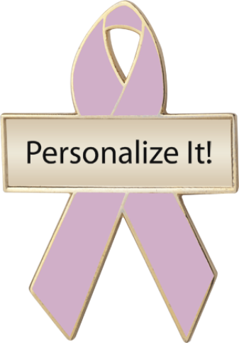 Personalized Orchid Awareness Ribbon Pin