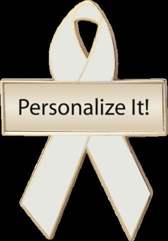 Personalized Pearl Awareness Ribbon Pin