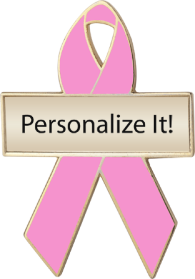 Personalized Pink Awareness Ribbon Pin