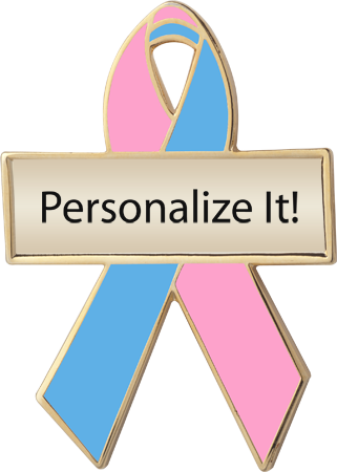 Personalized Pink and Blue Awareness Ribbon Pin