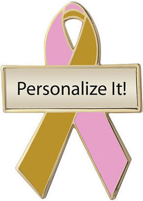Personalized Pink and Gold Awareness Ribbon Pin