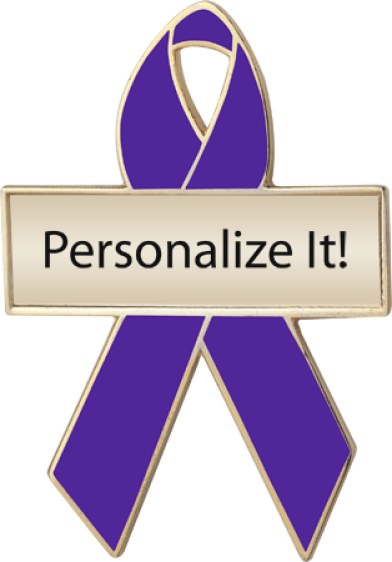 Personalized Purple Awareness Ribbon Pin