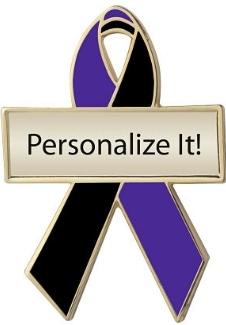 Personalized Purple and Black Awareness Ribbon Pin
