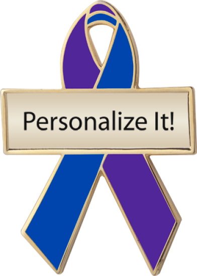 Personalized Purple and Blue Awareness Ribbon Pin
