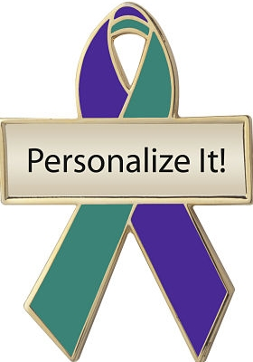 Personalized Purple and Green Awareness Ribbon Pin