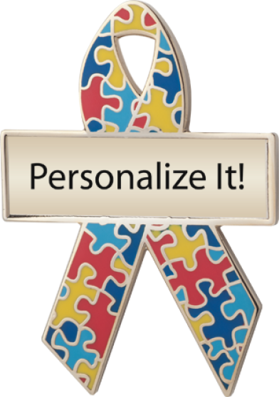 Personalized Puzzle Pieces Awareness Ribbon Pin