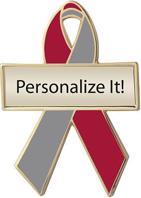 Personalized Red and Gray Awareness Ribbon Pin