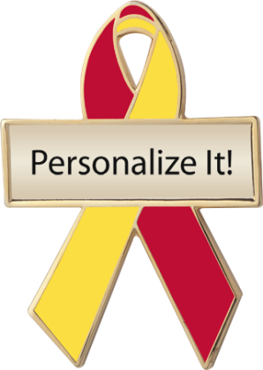 Personalized Red and Yellow Awareness Ribbon Pin