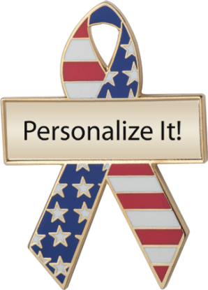 Personalized Red, White and Blue Awareness Ribbon Pin