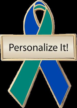 Personalized Royal Blue and Green Awareness Ribbon Pin