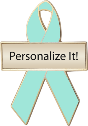 Personalized Sea Green Awareness Ribbon Pin
