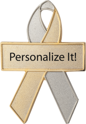 Personalized Silver and Gold Awareness Ribbon Pin