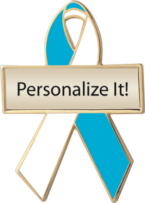 Personalized Teal and White Awareness Ribbon Pin