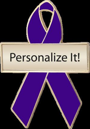 Personalized Violet Awareness Ribbon Pin