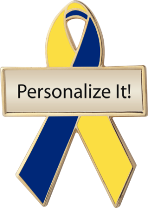Personalized Yellow and Blue Awareness Ribbon Pin