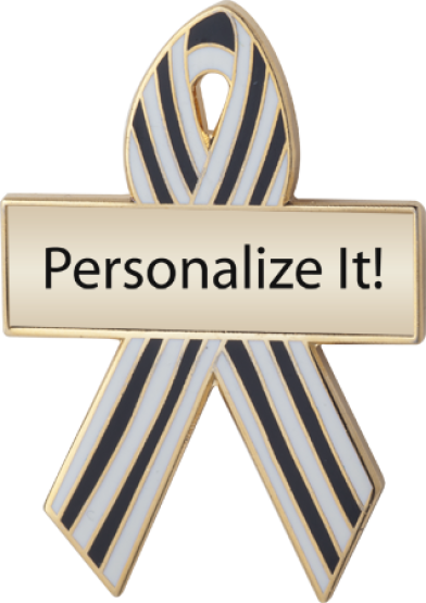 Personalized Blue and White Pinstripes Awareness Ribbon Pin
