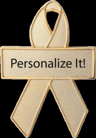 Personalized Gold Awareness Ribbon Pin