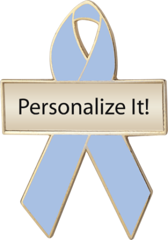 Personalized Light Blue Awareness Ribbon Pin