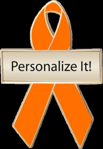 Personalized Orange Awareness Ribbon Pin
