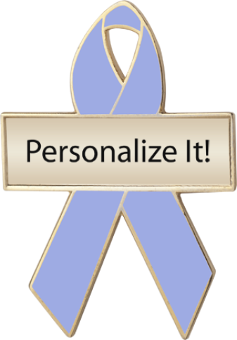 Personalized Periwinkle Blue Awareness Ribbon Pin