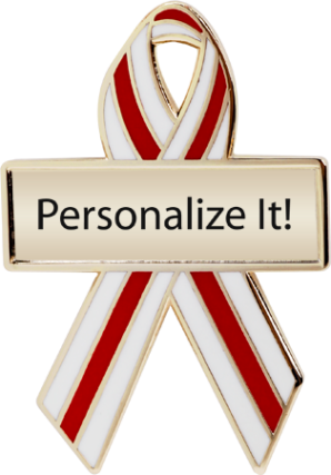 Personalized Red and White Pinstripes Awareness Ribbon Pin
