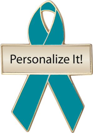 Personalized Turquoise Awareness Ribbon Pin