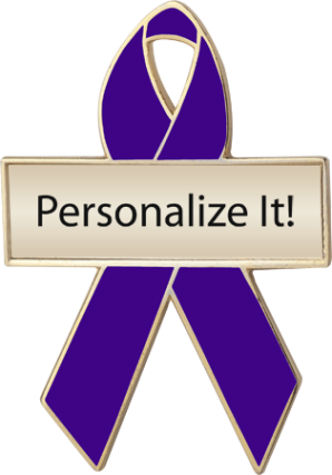 Personalized Violet Awareness Ribbon Pin