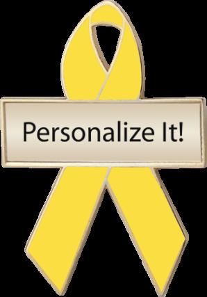 Personalized Yellow Awareness Ribbon Pin