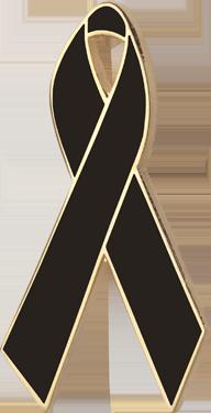 Black Awareness Ribbon Pin