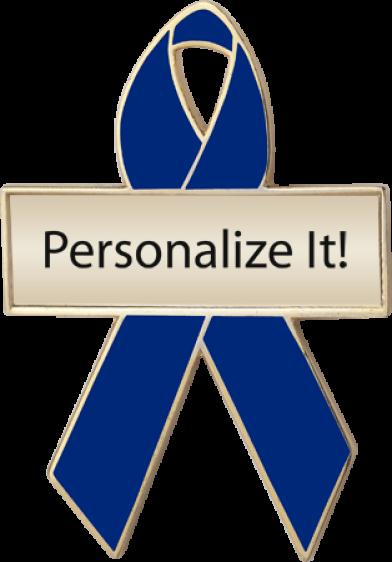 Personalized Blue Awareness Ribbon Pin