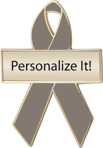 Personalized Graphite Awareness Ribbon Pin