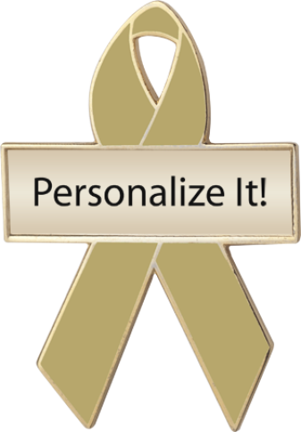 Personalized Olive Awareness Ribbon Pin