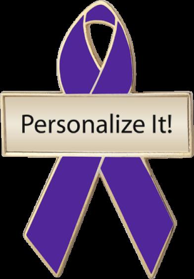 Personalized Purple Awareness Ribbon Pin